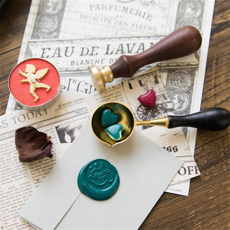 DIY Craft Seals Stamps Macaron Color Paint Seal Wood Handle Wax Sealing Stamp