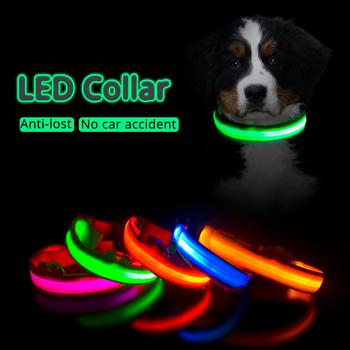 Obroża LED dla psa ładowane na USB przeciw zgubieniu wypadkowi samochodowemu dla psów szczeniąt smycze produkty dla zwierzaka domowego tanie i dobre opinie LOHUAHUA Obroże Standardowe obroża CN (pochodzenie) NYLON wszystkie pory roku W paski LIGHTS Szybkie wypuszczanie Nylon High quality Fiber