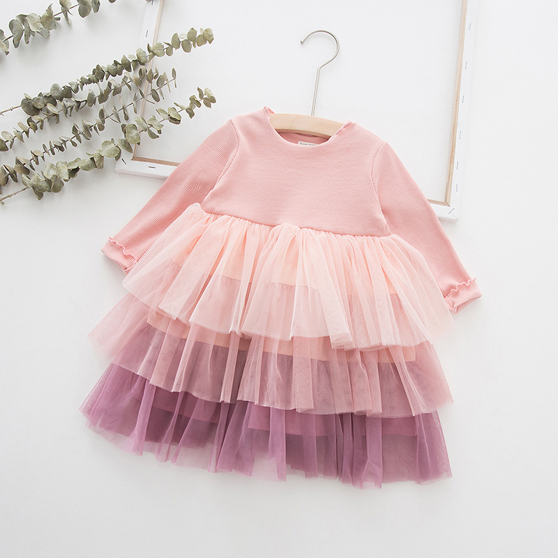 Cute Girls Dress 2019 Autumn Long Sleeve Toddler Kids Dresses For Girl Cotton Mesh Children Clothing Princess Layered Dress