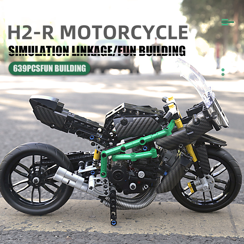 MOULD KING 23002 Motorcycle High-Tech Car The H2R Super Racing Motorcycle Set
