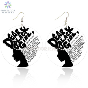 SOMESOOR Dear Black Girl African Woman Wooden Earrings With AFRO Natural Hair Power Words Sayings Printing Drop Earring Jewelry(China)