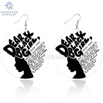 SOMESOOR Dear Black Girl African Woman Wooden Earrings With AFRO Natural Hair Power Words Sayings Printing Drop Earring Jewelry