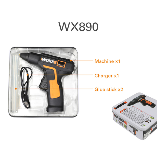 Worx 4V Melt Hot Glue Gun WX890 Electric glue gun Rechargeable Wireless Repair Tool Heat Mini Gun 7mm Glue Stick Household Tool 6