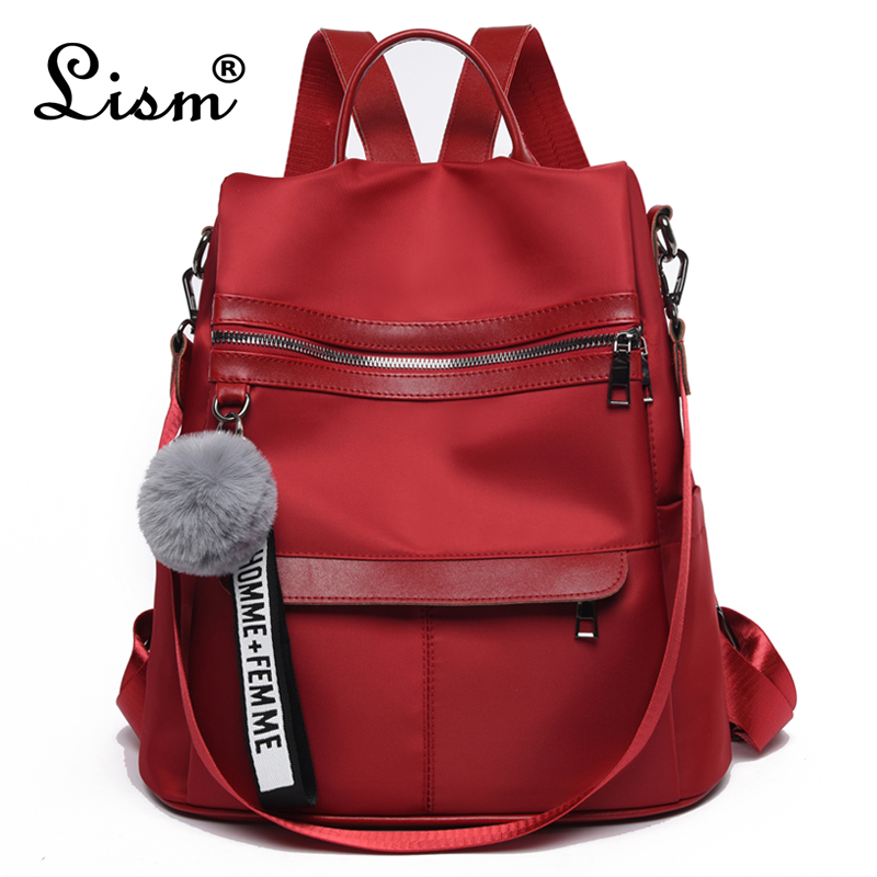 Backpack Waterproof Oxford Cloth Material 2019 New Simple College Style Bag Youth Girl Backpack Gift Hair Ball Pendant
