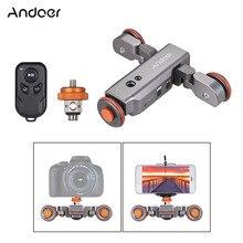 Andoer 電動カメラビデオドリーワイヤレスリモートコントロール調整可能な 1800 3600mah の充電式バッテリーデジタル一眼レフカメラスマートフォン