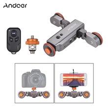 Andoer motorlu kamera Video Dolly kablosuz uzaktan kumanda ayarlanabilir 1800mAh şarj edilebilir pil DSLR kamera Smartphone için