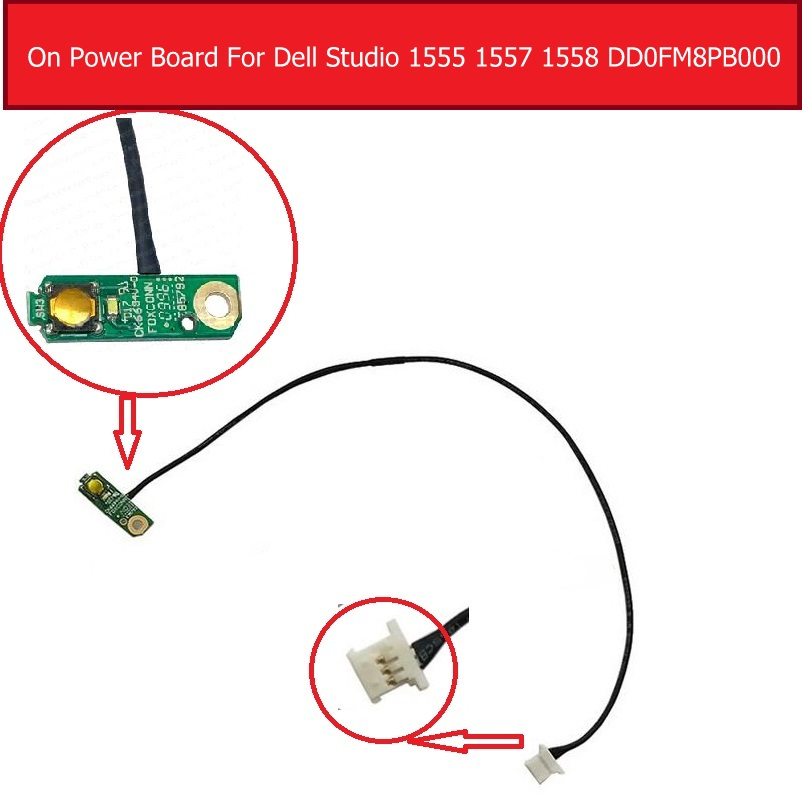 Genuine On/off Power Board For Dell Studio 1555 1557 1558 Series Power Switch Button Board With Cable Replacement DD0FM8PB000