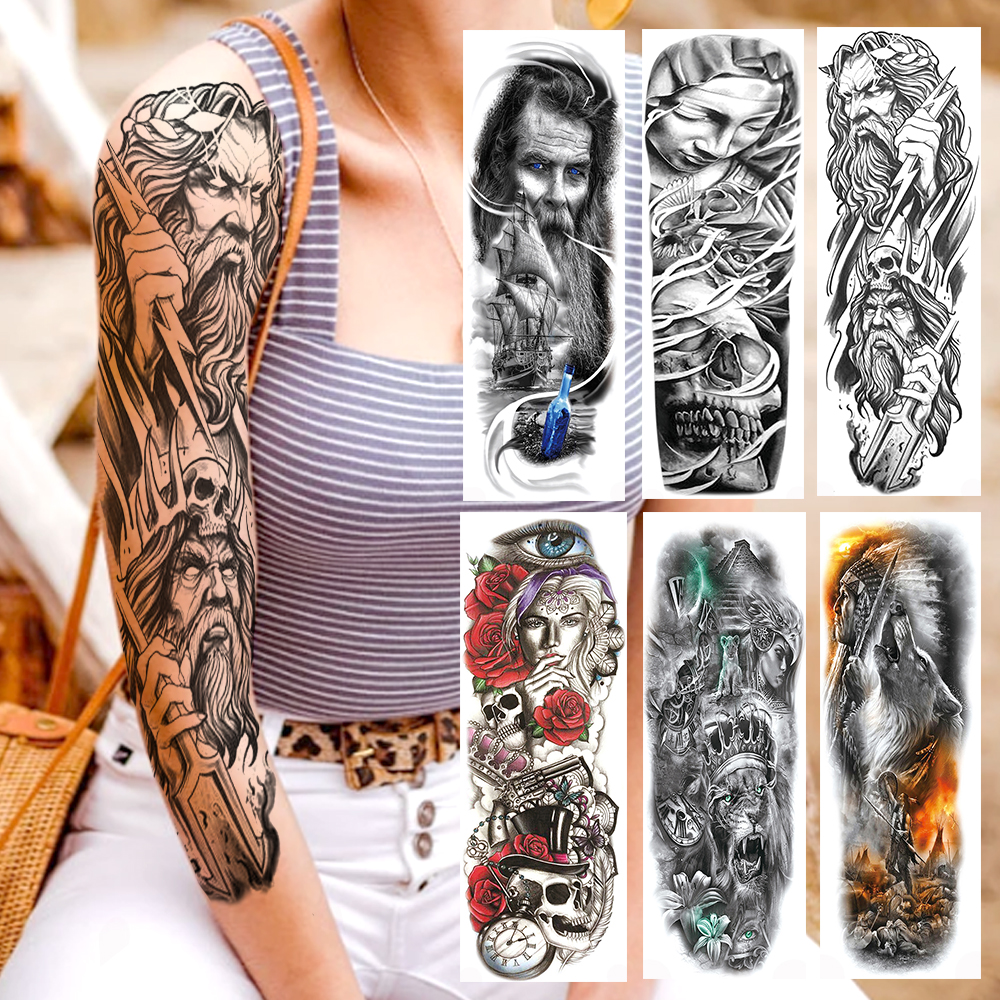 YURAN Tribal Worrior Knight Full Arm Tattoos Temporary War Of Gods Tattoo Sticker For Men Women Body Art Realistic Fake Tatoo 3D