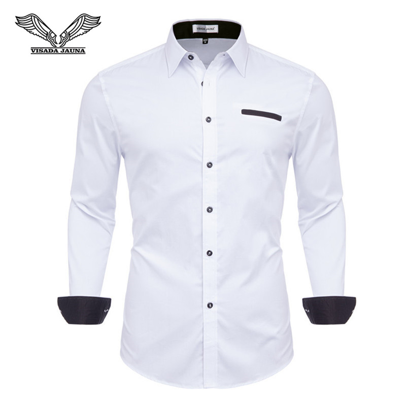 2018 New Fashion White Dress Shirts Men Long Sleeve Casual White Formal Shirt Men Slim Fit Wedding Shirt Male Clothing Tops