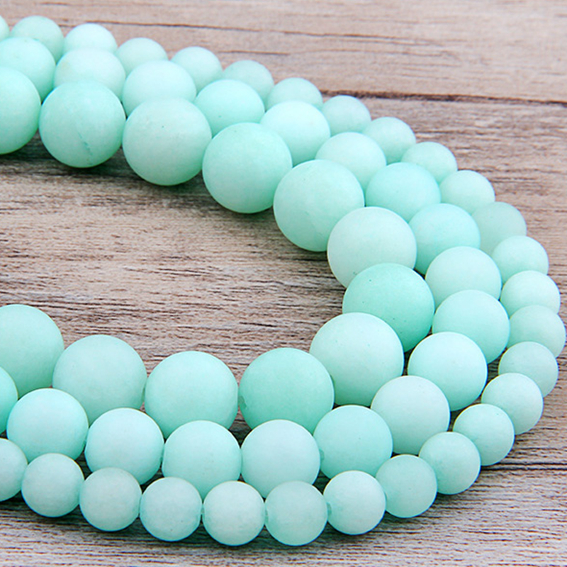 6 8 10 12 mm Frosted Blue River Amazonite matte <font><b>beads</b></font> <font><b>natural</b></font> <font><b>stones</b></font> Round loose <font><b>beads</b></font> for jewelry making bracelet necklace diy image