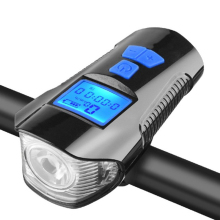 Waterproof Bicycle Light USB Charging Bike Front Light Flashlight Handlebar Cycling Head Light Waterproof Speed Meter LCD Screen