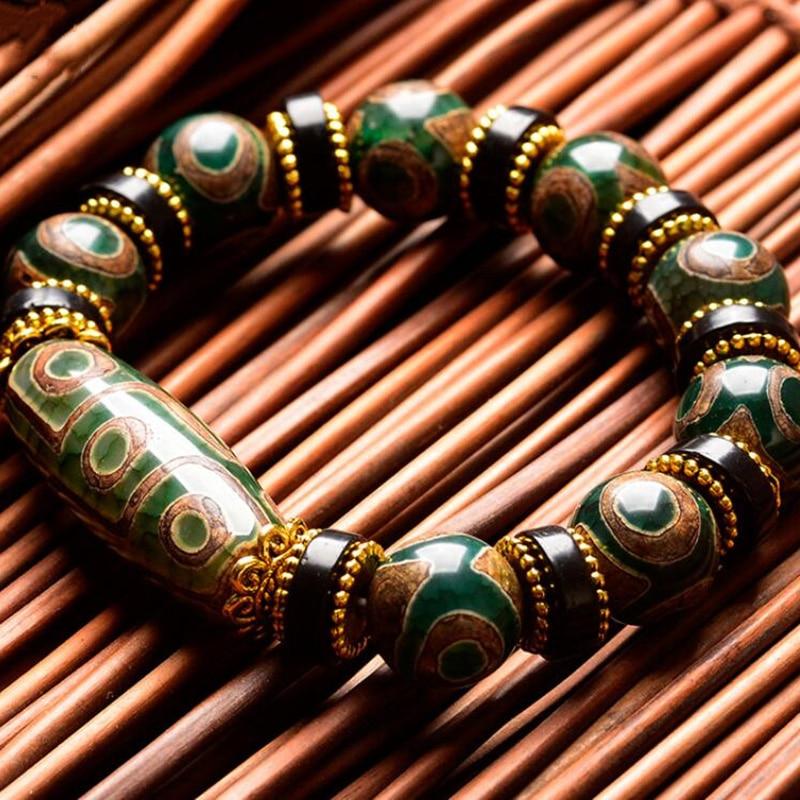 New Selling Men Women's Nine-Eye Jade Bracelet Natural Chalcedony Hand String Ethnic Style Tibetan Restoration Jewelry Gifts