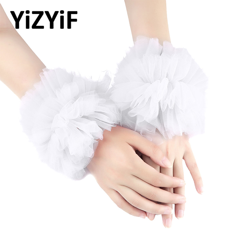 Women Wrist Cuffs Handmade Adjustable Ruffled Tulle Bracelet False Sleeves Wrist Cuffs Photo Props Dancing Costume Accessories