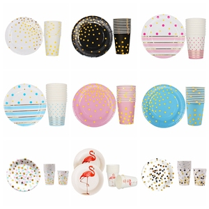 Image 1 - 20pcs/set Colorful Striped Paper Cups&Plates Wedding Birthday Decoration Baby Shower Festival For Kids Tableware Party Supplies