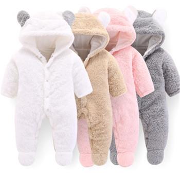 Zima noworodek ubrania dla dzieci dziewczynek ubrania z miękkiego polaru znosić pajacyki kombinezon dla niemowląt Boys Baby dziewczyny gruby płaszcz z kapturem tanie i dobre opinie BONJEAN Moda Unisex ch183 COTTON Poliester REGULAR Pasuje prawda na wymiar weź swój normalny rozmiar Wełniane W dół i parki
