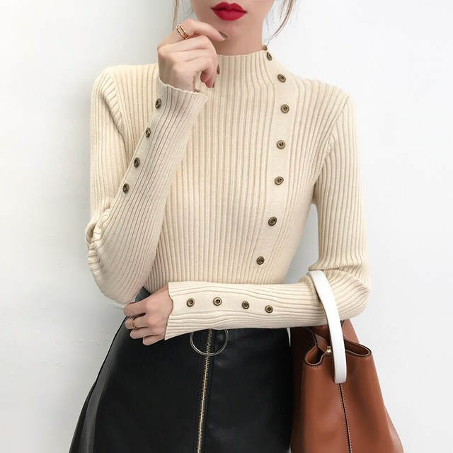 Ailegogo Women Turtleneck Knit Pullovers Spring Autumn Casual Slim Fit Sweater Solid Color Button Ladies Knitwear Korean Tops 1