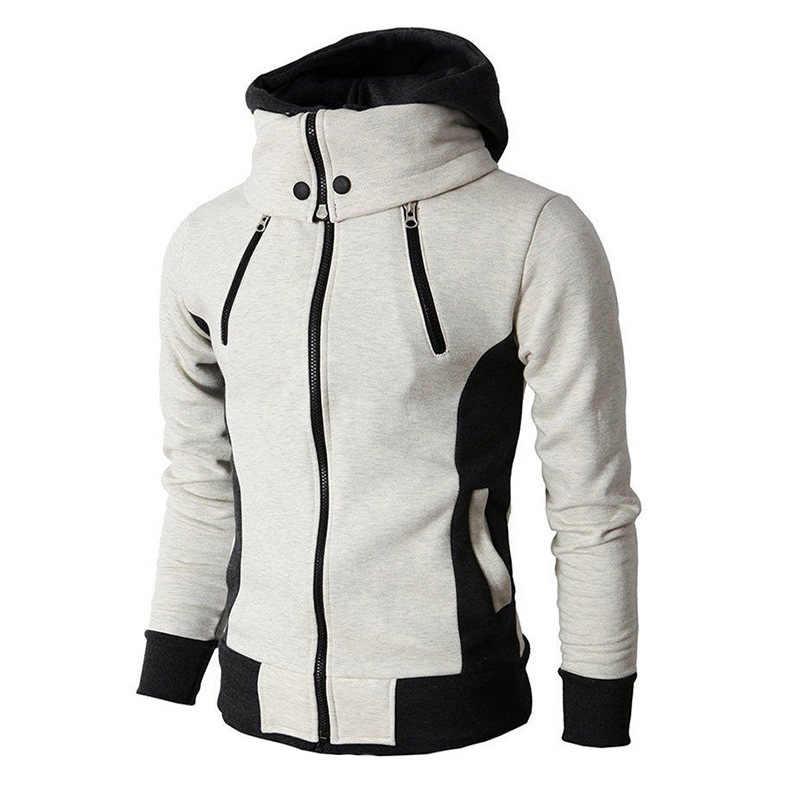 2020ジッパーメンズジャケット秋冬カジュアルフリースコートボンバージャケットスカーフ襟ファッションフード付き男性生き抜くスリムフィットパーカー