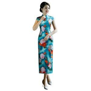 Image 5 - Cheongsam אביב ובקיץ 2020 קצר שרוול ארוך מודפס שמלת Cheongsam משי בסגנון הסיני טאנג חליפה נשי