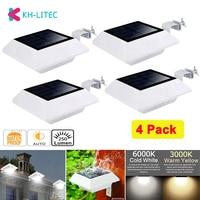 KHLITEC-luces para canaletas de energía Solar, 6 luces LED con Sensor de luz para pared, para exteriores, valla de calle, jardín, 4 Uds.
