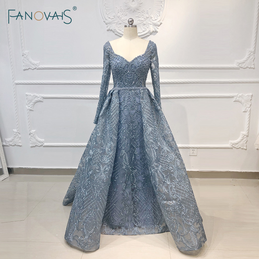 Luxury Evening Dress 2019 Long Sleeve A-Line Shiny Crystal Beaded Lace Evening Party Gown Robe De Soiree NE67