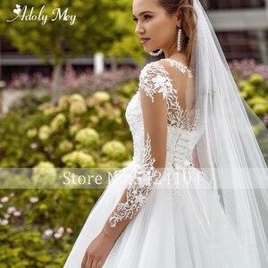 Image 4 - Adoly Mey Neue Elegante Scoop Neck Volle Hülse A Line Hochzeit Kleid 2020 Luxus Perlen Appliques Gericht Zug Bohemian Wedding Kleid
