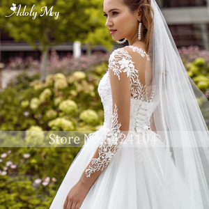 Image 4 - Adoly Mey New Elegant Scoop Neck Full Sleeve A Line Wedding Dress 2020 Luxury Beaded Appliques Court Train Bohemian Wedding Gown