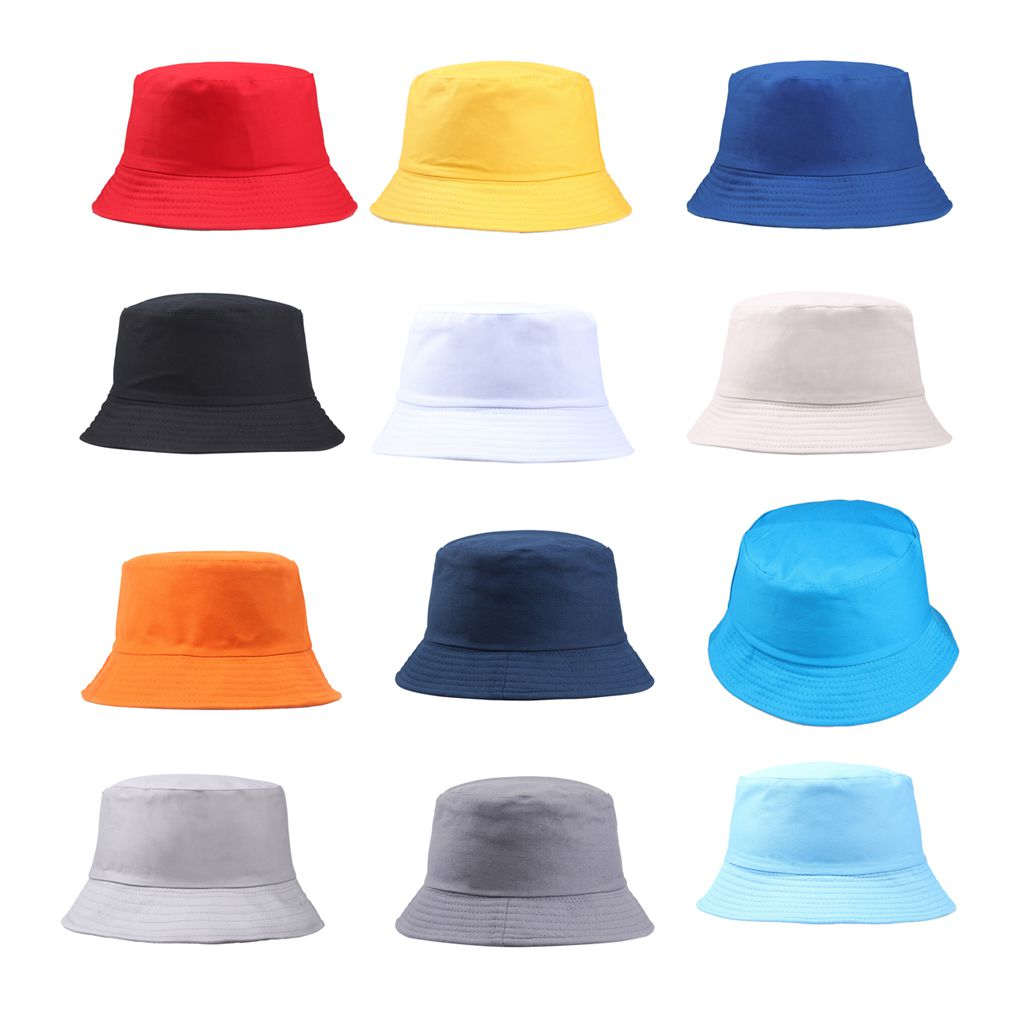 Cotton Foldable Bucket Cap Unisex Men Women Summer Fishing Hat Camping Hunting Cap Solid Color Fisherman Beach Festival Sun Cap