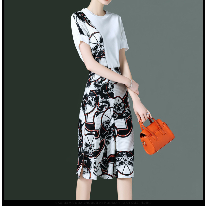 Ozhouzhan Western Style Casual Fashion Piece Summer New Style Joint Printed T-shirt Skirt By Age WOMEN'S Suit