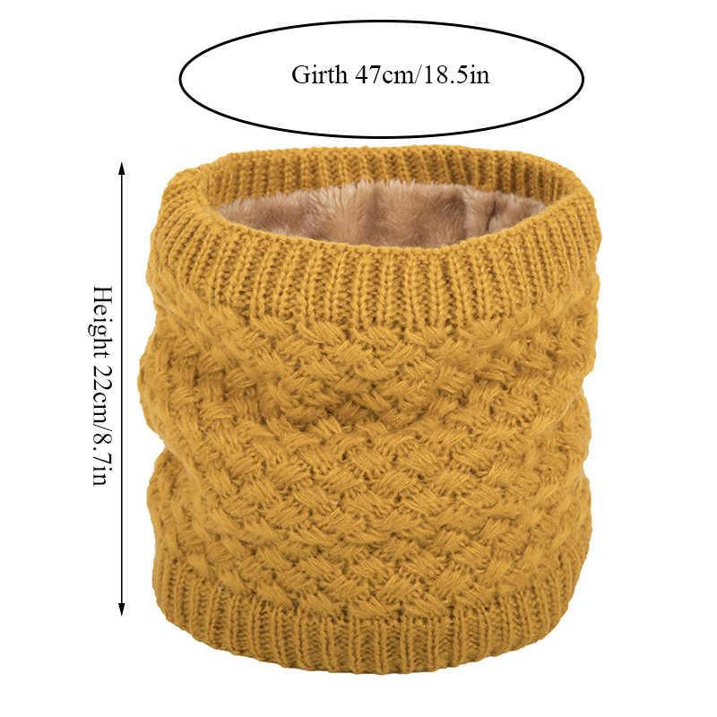 Unisex ผู้หญิงผู้ชายฤดูหนาวถักแหวนผ้าพันคอยืดหยุ่นคออุ่น Thicken กำมะหยี่ Circle Snood ผ้าพันคอผ้าพันคอเด็กตุ๊กตาผ้าพันคอ