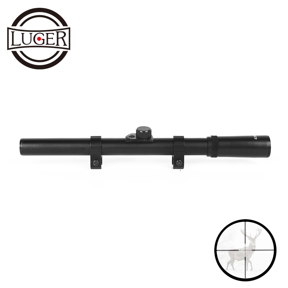 LUGER 4x15 Tactical Optical Sight Crosshair Riflescope Fits 11mm  Rail Mount For Rifle Airsoft Air Gun Hunting Scope
