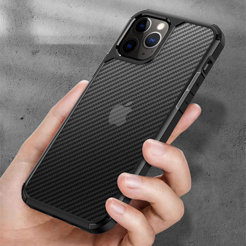 Carbon Fiber Pattern Case For Iphone 12 11 Pro Max 12 Mini Transparent Cases For Iphone X XS Max XR SE 2020 7 8 Clear Cover