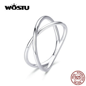 WOSTU 100% Real 925 Stelring Silver Double Layer Cross Finger Rings Classic 2019 New Rings For Women Jewelry Gift CQR543(China)