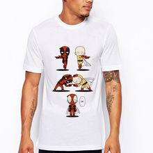 Saitama Fusion Design Short Sleeve Men T-shirt Male Cool Tops Novelty Tees Funny Deadpool