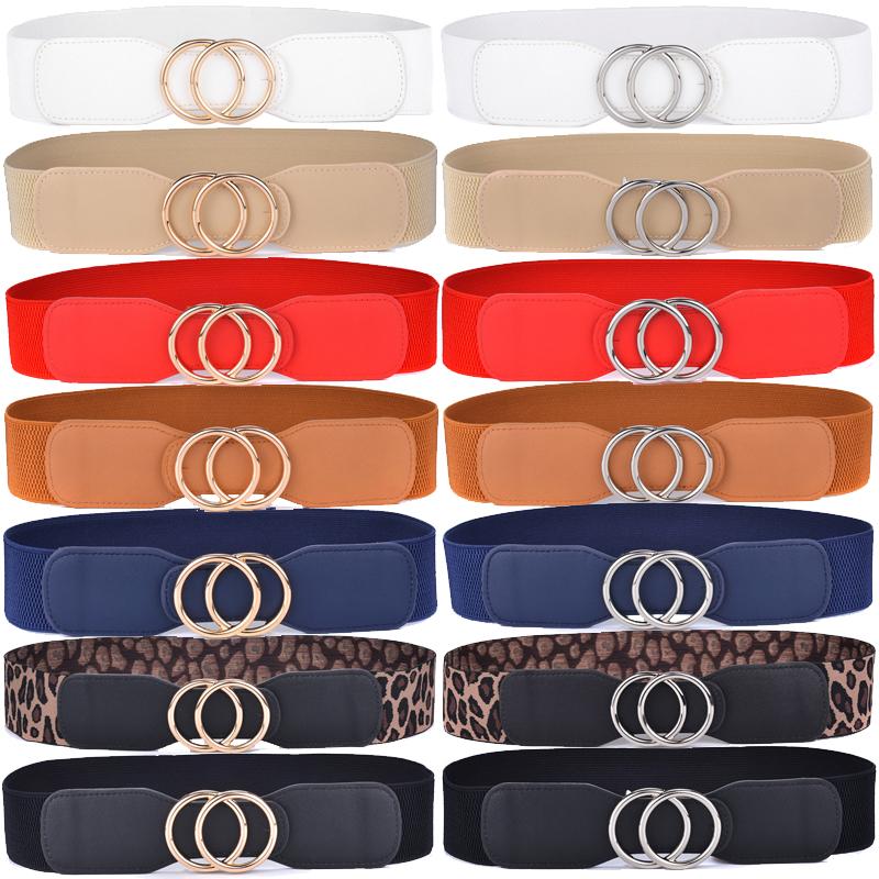 Beltox Women's Girdle Elastic Stretch Wide Waist Belts w Double Rings Buckle Cummerbunds Ladies