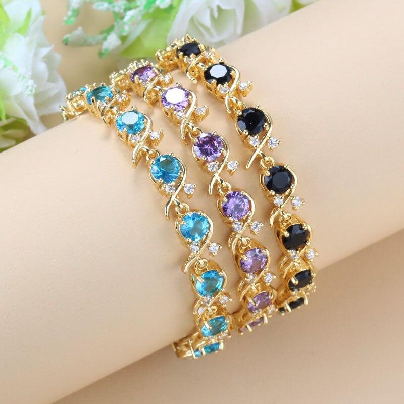 Африканские женские свадебные украшения золотого цвета, очаровательный браслет, цветные кубические циркониевые свадебные аксессуары
