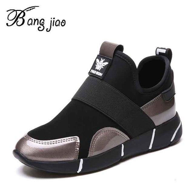 Zapatillas de deporte con plataforma de cuero sintético para mujer, zapatos ligeros, sin cordones, con aumento de altura, para Primavera, 2019