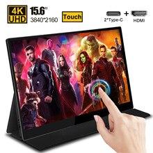 15.6 4k tela sensível ao toque monitor ips hdr para ps4 xbox interruptor gaming huawei samsung telefone portátil monitor do computador portátil tela de exibição