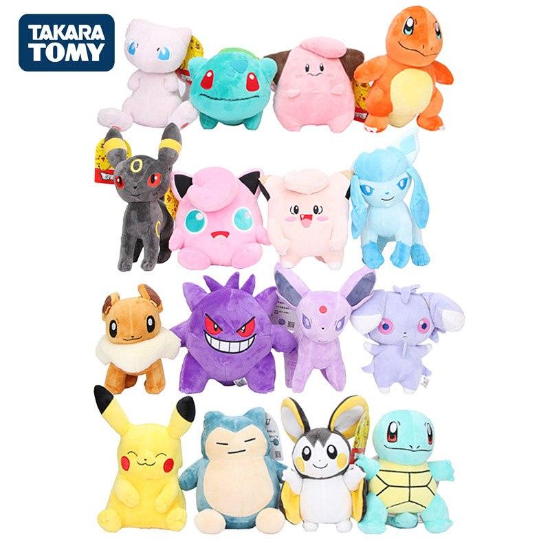 Takara Tomy Genuine Pokemon Pikachu Eevee Plush Toys Charmander Gengar Pichu Bulbasaur Mew Plush Stuffed Toys For Children