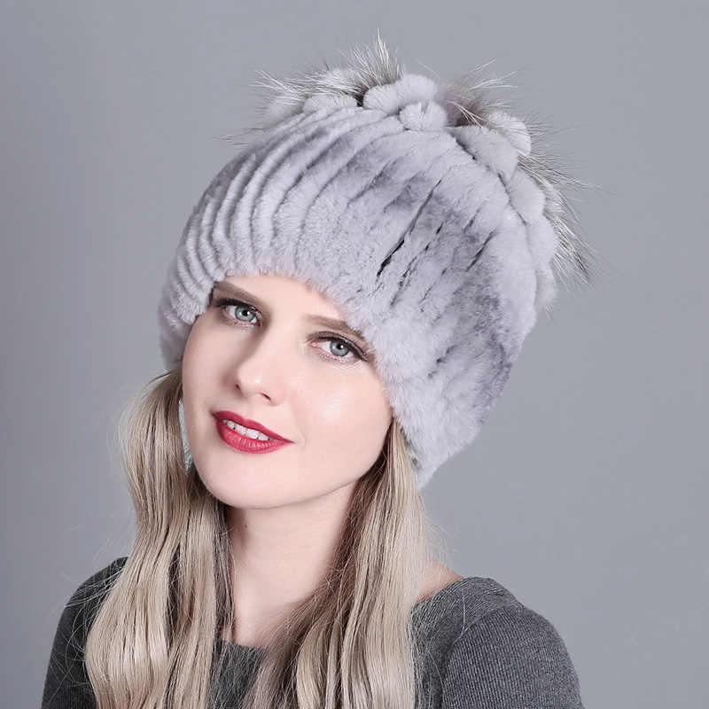 2020 Phụ Nữ Mũ Lông Thú Cho Mùa Đông Tự Nhiên Rex Thỏ Cáo Vải Lông Nga Nữ Lông Trùm Đầu 2020 Thương Hiệu Thời Trang Mới ấm Beanies Nắp