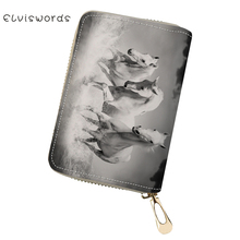 ELVISWORDS Cute PU Business Card Holder Horses Prints Pattern Girls Money Purses Bag Kawaii Animal Lady Mini Cluth Wallets