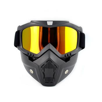Gogle motocyklowe maski taktyczne okulary Paintball z odpinaną maska narciarska wiatroszczelna Paintball CS strzelanie Wargame gogle tanie i dobre opinie CN (pochodzenie) tactical goggles Ochrona przed promieniowaniem UV outdoor skiing cycling durable white convenient skiing glasses