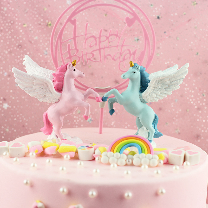 Unicorn Birthday Party Gift Angel Wings Unicorn Cake Decor Topper Pink Unicorn Decor for Wedding Party Supplies DIY Home Cake,Q