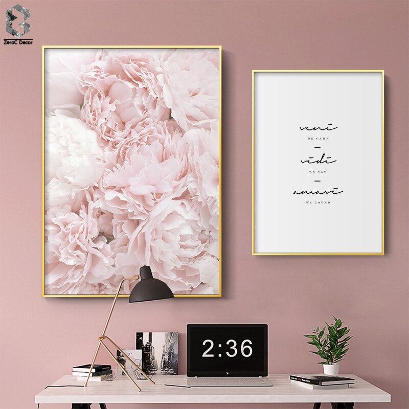 Citações Da Arte Da Parede Da Flor Da peônia Impressão Fashion Art Poster Blush Rosa Nordic Decoração Cópias Da Lona Pintura Sala de estar Decoração de Casa