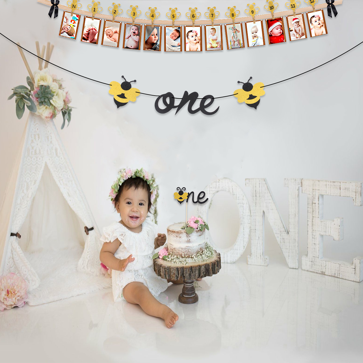Patimate Bee Banner Happy Baby 1st Birthday Banner Flag One Year Bunting Garland First Birthday Party Boy Girl Baby Shower Decor Banners Streamers Confetti Aliexpress