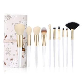make up brush set Women Makeup Brush Set Small Floral Dragonfly Makeup Bag Foundation Eye Shadow Brow Lash Professional Makeup image