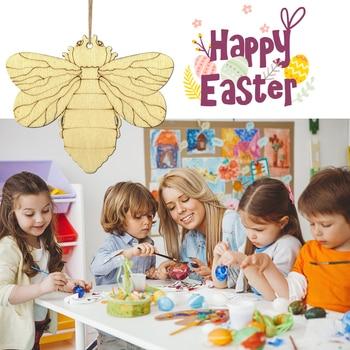 10 sztuk/zestaw drewniana dekoracja wielkanocna pszczoły motyl sowa zawieszki kwiat krzyż festiwal wielkanoc zawieszki ozdoby Home Decor