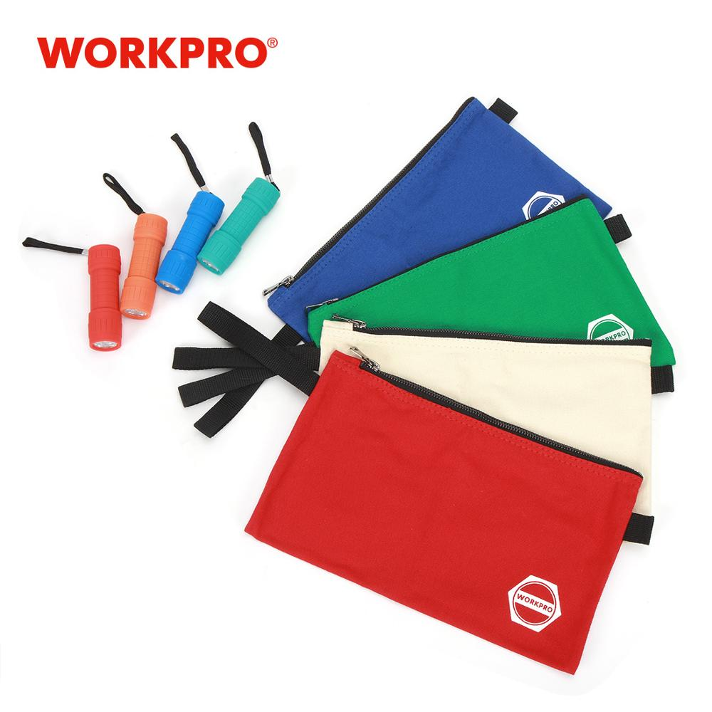 WORKPRO 1pc Canvas Tool Bags Storage Zipper Bags For Tools Stationery Bags Combo With 1pc Bonus LED Flashlight
