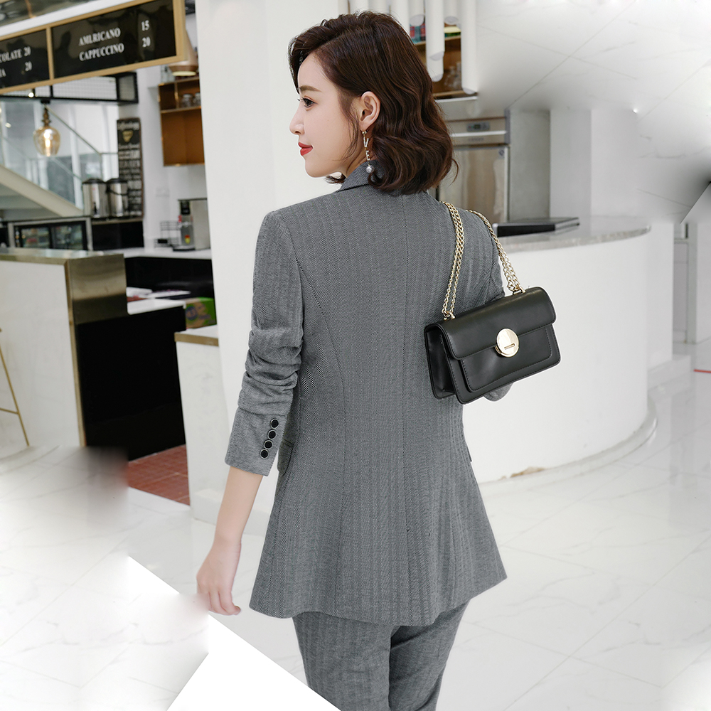 Women Grey Suit for Office Set Herringbone twill High Quality Business Work Wear Ladies Blazer Trousers 2 Pieces