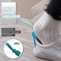 4 pièces paresseux unisexe porter chaussure corne aide chausse-pied chaussure facile sur et hors chaussure robuste Slip Aid paresseux chaussure aide 2020 nouveau chaussures outils
