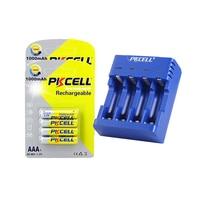 Pkcell carregador para 1.2 v nimh nicd aa ou aaa bateria 4 slot carga 1 a 4 pces batteria interface usb e nimh aaa 1000mah 1.2 v 8 pc|Carregadores| |  -